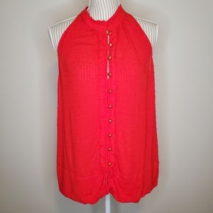 Anthropologie Maeve Red Button Up Tank Top